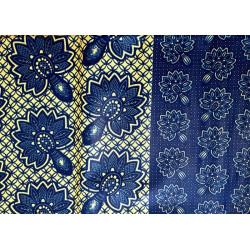 Tela wax africana flors blaves
