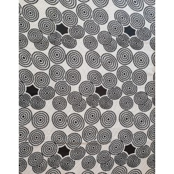 African Wax Fabric black and white circles