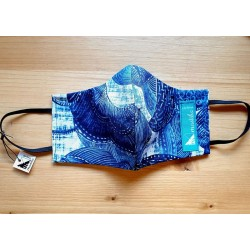 Reversible cloth face mask with beautiful fabric blue leaves  100% cotton