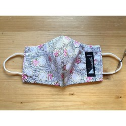 Reversible cloth face mask with beautiful pink flowers fabric 100% cotton