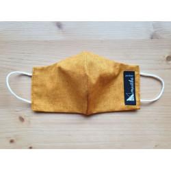 Masque réversible en tissu jaune moutarde 100% coton
