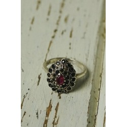 Antique silver ring with a semi-oval shape