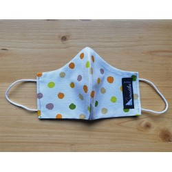 Reversible cloth face mask with polka dots beige background fabric 100% cotton