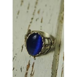 Anell de plata antic i pedra blava blau marí