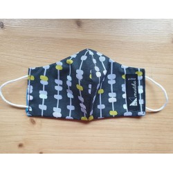 Reversible cloth face mask with Dark green fabric 100% cotton