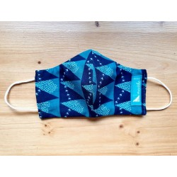 Reversible cloth face mask with Turquoise flags fabric 100% cotton