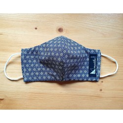 Reversible cloth face mask with Geometrical Dark blue fabric 100% cotton