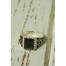 Antique ethnic silver ring with black stone