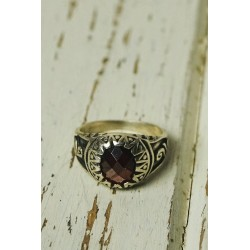 Ethnic silver ring with garnet stone