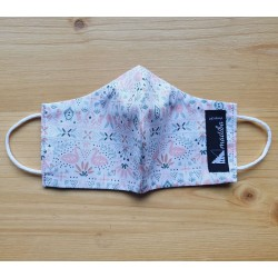 Reversible cloth face mask with Pink swans fabric 100% cotton