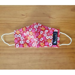 Reversible cloth face mask with red with flowers fabric 100% cotton