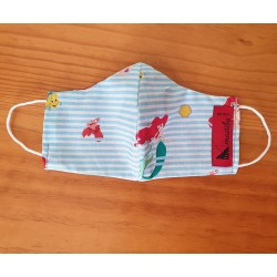 Reversible mask with official Disney fabric - The Little Mermaid 100% cotton