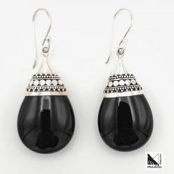 Arracades de plata amb àgata negra de Bali