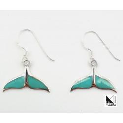 Boucles d'oreilles en argent et turquoise mermaid-tailed