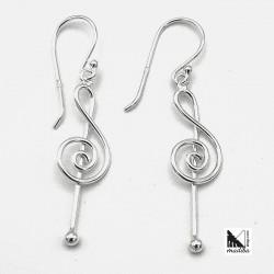 Silver Earrings - treble clef