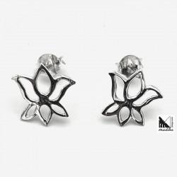 Pendientes de plata - Flor...