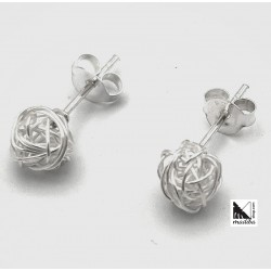Silver earrings  - coiled yarn
