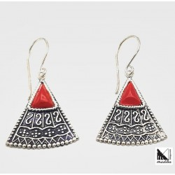Enamel silver earrings