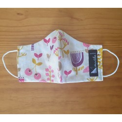 Reversible cloth face mask - Flowers and cherries 100% cotton
