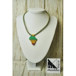Leather's necklace Africa map